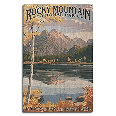 Lantern Press Rocky Mountain National Park, Colorado - Longs Peak and Bear Lake Fall (10x15 Wood Wall Sign, Wall Decor Ready to Hang)
