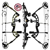 RAPTOR Compound Hunting Bow Kit: LIMBS MADE IN USA | Fully adjustable 24.5-31' Draw 30-70LB pull | Up to 315 FPS | WARRANTY & 100% 30 day GUARANTEE | 5 Pin Lighted Sight, Biscuit Rest | Black LH