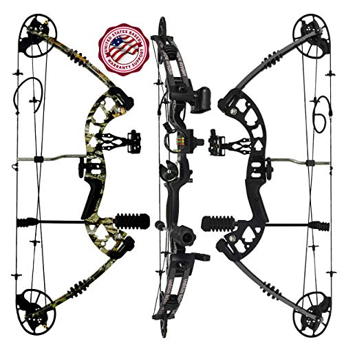 """Predator Archery Raptor Compound Hunting Bow Kit: Limbs Made in USA   Fully Adjustable 24.5-31"""" Draw 30-70LB Pull   Up to 315 FPS & Guarantee   5 Pin Lighted Sight, Rest, Quiver   W String Stop"""