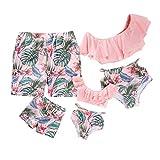Yaffi Traje de baño a Juego con Volantes Conjunto de Bikini de Dos Piezas Traje de baño Tropical Estampado Mamá y yo Ropa de Playa