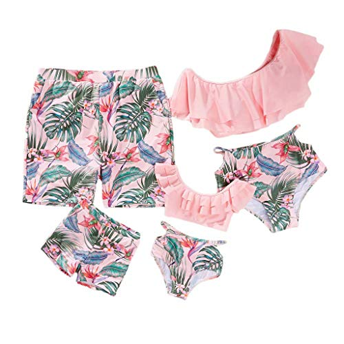 IFFEI Family Matching Swimwear Two Pieces Bikini Set Newest Printed Ruffles Mommy and Me Bathing Suits Baby Girsl: 3-6 Months