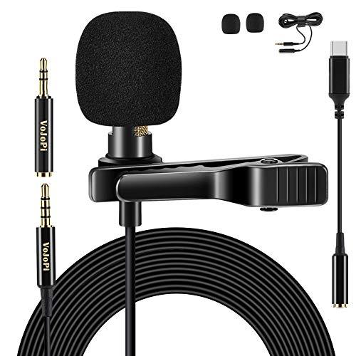 VoJoPi Lavalier Mikrofon, Omnidirectional Kondensator Ansteckmikrofon mit Adapter Type C und 2M Verlängerungskabel, 3.5mm Handy Lapel Mic für PC, Smartphone, Kamera, Recording, Podcast, Konferenz