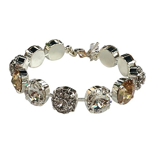 HisJewelsCreations, Bridal Rivoli Clear and Golden Shadow Bracelet made with Crystal from Swarovski