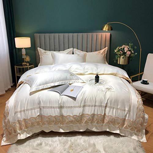 JBHURF Seide-Bettdecke, Baumwollstickerei, Gewaschene Seide-Bettbezug, Massivfarbe Vier-teiliges Set, Baumwollbettwäsche, großes extra-großes Textil, geeignet für alle Jahreszeiten