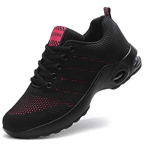 ZPAWDH Air Cushion Sports Chaussures de Course pour Femmes Légères Baskets Athlétiques Baskets Respirables(Black/Red 39EU