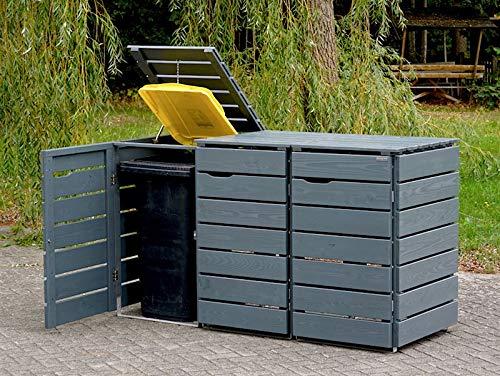 3er Mülltonnenbox / Mülltonnenverkleidung 240 L Holz, Deckend Geölt Tannengrün