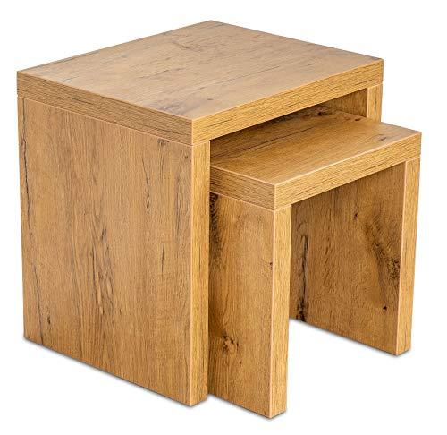 levandeo Couchtisch 2 Satztisch Holz 44x44x36cm Wildeiche Eiche Tisch Beistelltisch Deko Sofatisch Ablage Fest Verleimt Keine Montage