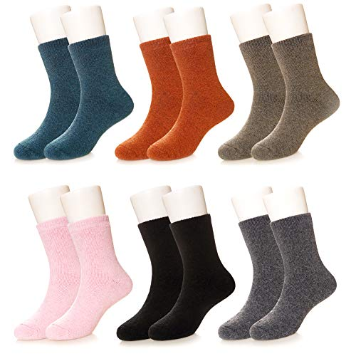 Kids Girls Boy Thermal Thick Socks Winter Soft Wool Warm Cotton Children Toddler Crew Socks 6 Pairs (Solid Color,8-12 Years)