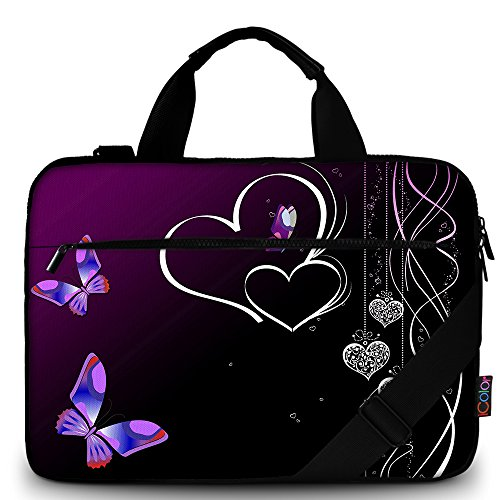 iColor Purple Butterflies Canvas Laptop Carrying Shoulder Sleeve Case Protective Bag Briefcase Fits 11.6 12 12.9 13 13.3 Inches Laptop Ultrabook Netbook CSH-05