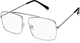 Arzonai Raees Rectangle Shape Silver-Transparent UV Protection Sunglasses | Frame For Men & Women [MA-9999-S3 ]