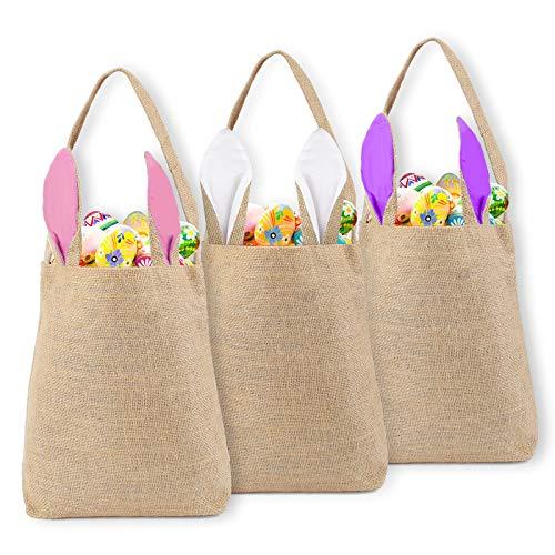 colmanda Bolsas de Regalo para Pascu, 3 Piezas Bolsas de Pascua de Yute, Bolsas de Conejito Pascua Creativa Huevos Bolsas Cesta, Cesta de Pascua para Niños Pascu Decoracion, Envolver Regalos