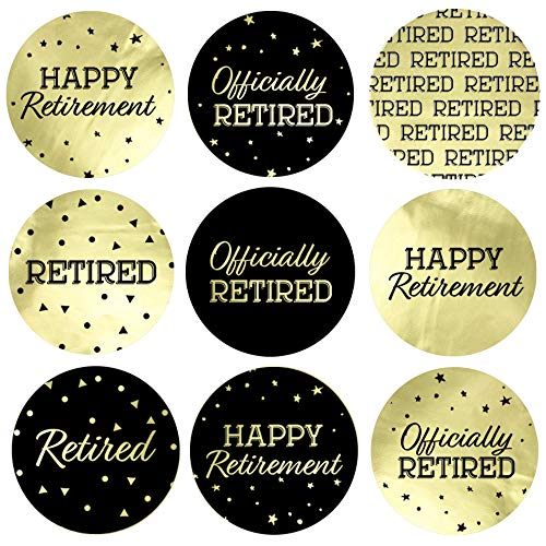 Black and Gold Retirement Party Favor Stickers - Shiny Foil - 180 Labels