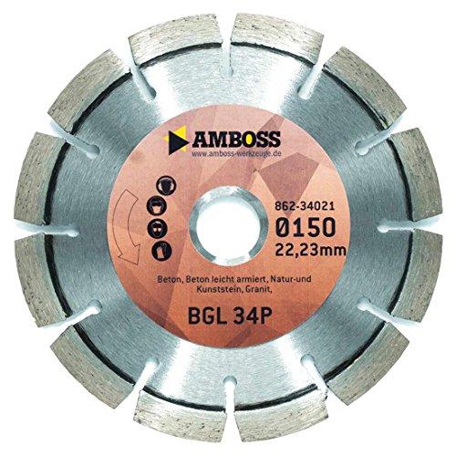 Amboss BGL 34P - Laser-geschweißte Diamant-Trennscheibe Ø 115 mm x 22,2 mm - leicht armierter Beton / Natur- & Kunststein / Granit | Segmenthöhe: 10 mm