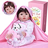 ZIYIUI 55 cm Reborn Baby Dolls Vinilo Suave Silicona Niña Muñeca Reborn bebé , Los Ojos de la niña s...