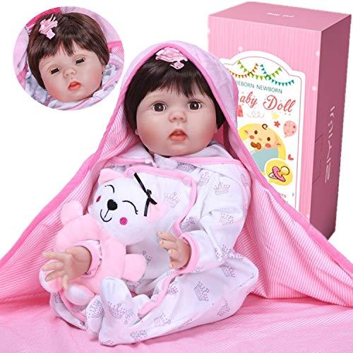 ZIYIUI 55 cm Bambola Reborn Bambole Reborn Baby Dolls Silicone Ragazza - La Bambola è in Grado di Battere Le palpebre. Gli Occhi saranno Chiusi Quando è sdraiata e Aperti Quando Si siede
