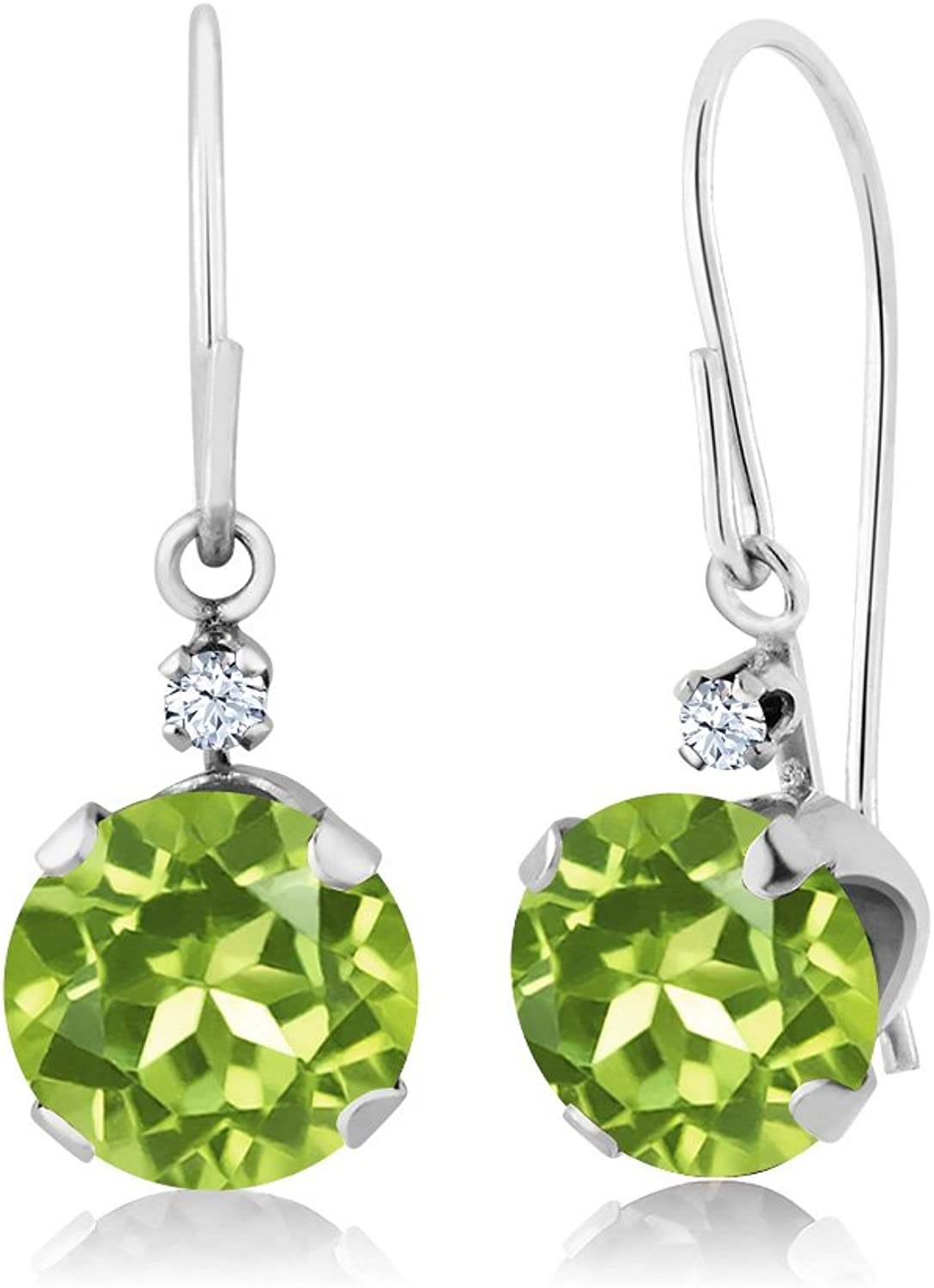 1.83 Ct Round Green Peridot 14K White gold Earrings