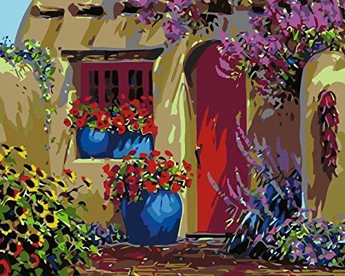 Diy Pintar Por Numeros Para Adultos Niños, 40X50Cm-Sin Marco, Pinturas Acrílicas, Para Adultos, Niños, Principiantes, Para Regalos De Cumpleaños Para Madres E Hijas - Cama De Flores