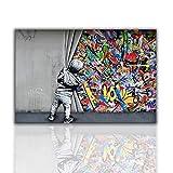 Banksy Graffiti Art Pintura de pared Arte callejero Impresión infantil en lienzo Obra de arte Póster Pintura al óleo, Sala de estar Decoración mural (70 x 106 cm), sin enmarcar