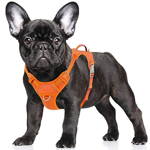 BARKBAY No Pull Dog Harness Large Step in Reflective Dog Harness with Front Clip and Easy Control Handle for Walking Training Running with ID tag Pocket(Orange,S)
