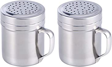 BESTONZON 2Pcs Stainless Steel Dredges/Seasoning Shaker Rub Container Tins with Handle Suitable for Salt,Coffee,Home Cafe Restaurant Favor(7 x 9 x 8 cm)