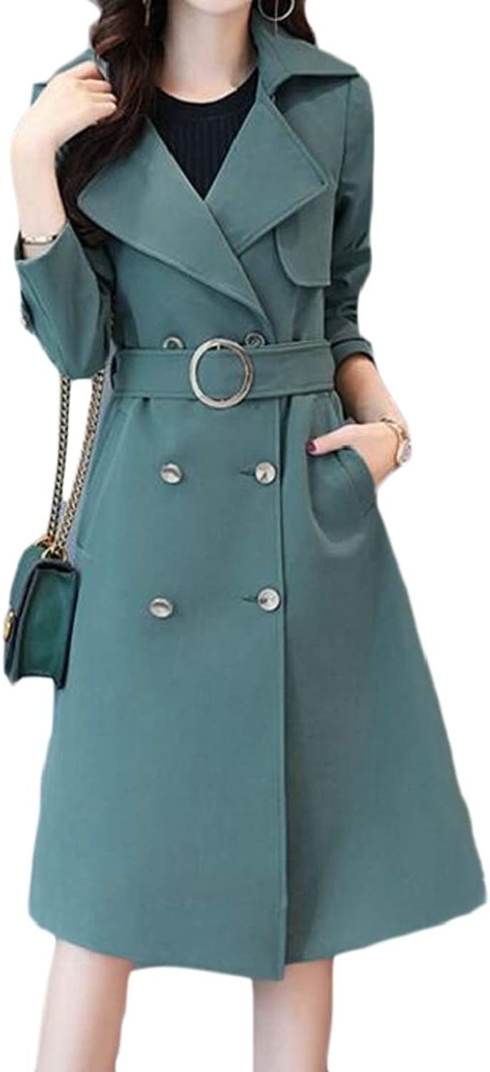 EtecredpowCA Womens Graceful Belt Double Breasted Overcoat Notched Lapel Trench Coat