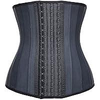 YIANNA Mujer Fajas Reductoras Adelgazante Cómodo Corsé Cintura Entrenador Waist Shaper Corset Reductor Negro with 25 Huesos de Acero,UK- YA1210-Black-S