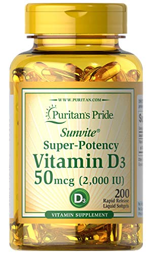Puritans Pride Vitamin D3 2000 IU 200 Rapid Release Soft Gels