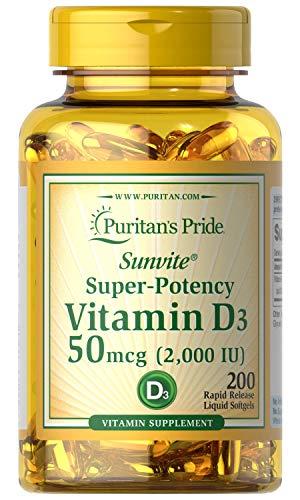 Puritans Pride Vitamina D3 2000 IU 200 Rapido Rilascio Capsule Morbide