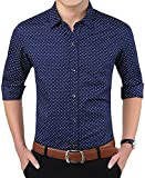 Super weston Cotton Polka Print Dotted Shirts for Men for Formal Use,100% Cotton Shirts,Office Wear Shirts, M=38,L=40,XL=42 (Navy, Small)