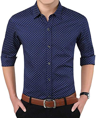 Super weston Cotton Polka Print Dotted Shirts for Men for Formal Use,100% Cotton Shirts,Office Wear Shirts, M=38,L=40,XL=42 (Navy, Large)
