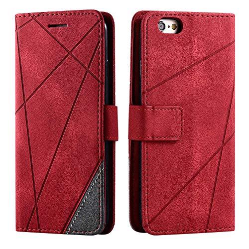 Cover per iPhone 6S / iPhone 6, SONWO Flip Caso in PU Pelle Case Cover Portafoglio Custodia per iPhone 6S / iPhone 6, [Kickstand] [Slot per Schede], Rosso