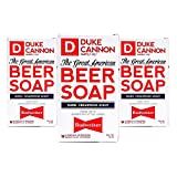 Duke Cannon Great American Beer Soap for Men, 10 ounce (3 Pack) - Made with Budweiser with a Warm, Cedarwood Scent