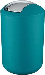 WENKO Poubelle à couvercle oscillant Brasil L pétrole - Poubelle cosmétique, absolument incassable Capacité: 6.5 l, Plasti...