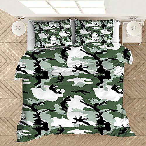 Funda de almohada con funda nórdica con estampado de camuflaje en 3D, cama individual doble tamaño king, dormitorio decorativo, apartamento, ropa de cama suave y cómoda-7_200 * 200 cm (3 piezas)