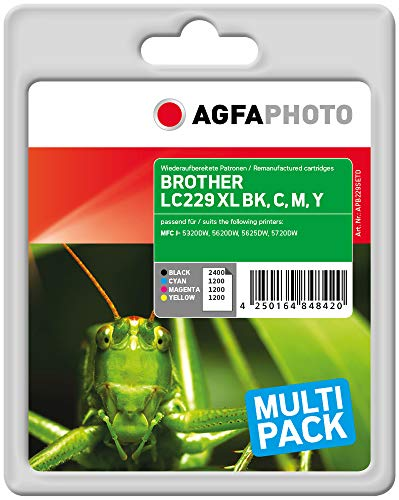 AgfaPhoto APB229SETD Remanufactured Tintenpatronen Pack of 1, schwarz, cyan, magenta, gelb, 13.5 x 10.8 x 7.2