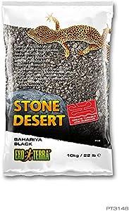 Exo Terra PT3148 Bahariya Black Stone Desert Substrate for Terrariums, Malleable, Black, 10 kg