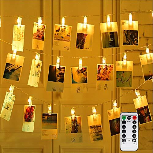 Vegena Lichterkette mit Klammern für Fotos, 8 Modi USB/Batteriebetrieben Fotolichterkette Fotolichter Kette 40 LED Fotoclips Lichterketten für Zimmer Bilder Schlafzimmer Weihnachten Hochzeit Deko
