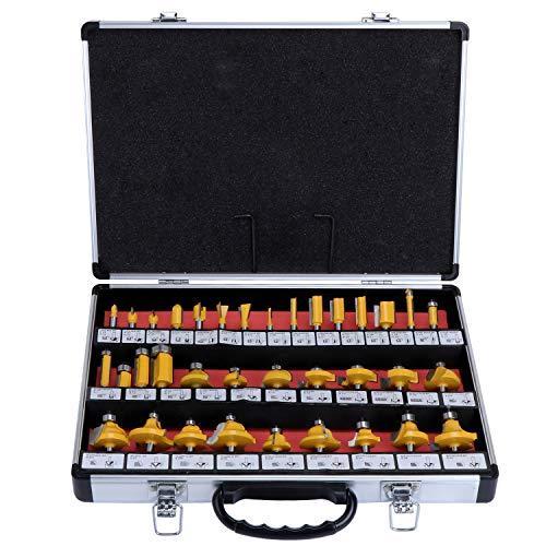 HSEAMALL 35PCS Set di punte per router con punta in carburo di tungsteno,Gambo da 6,35 mm 1/4 pollici Set di bit del router TCT,Taglierine per router a legna,Set Frese per Legno