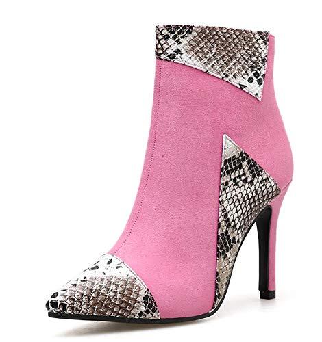 JXJ Botines femeninos Serpentine Boots Mujer Zapatos de tacón alto Punta puntiaguda Sexy Botas cortas