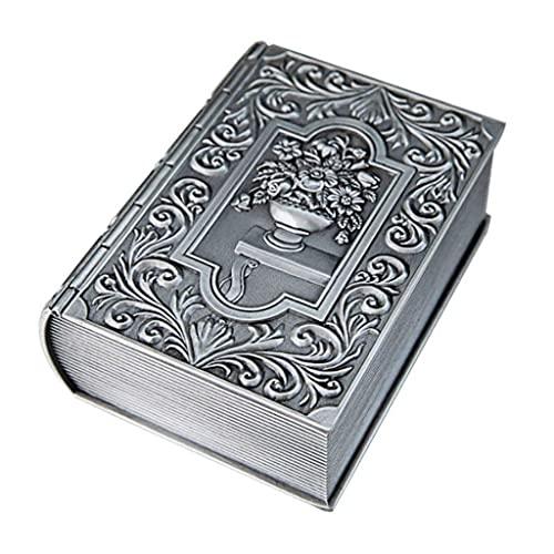 TEAYASON Caja de Joyería Vintage Forma de Libro Caja de Joyería Contenedor Metal Plateado Anillo Antiguo/Pendientes/Collar Organizador de Alenamiento Estuche para Niñas