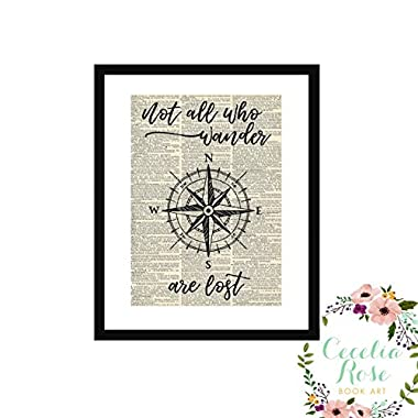 Not All Who Wander Are Lost J. R. R. Tolkien All That Is Gold Does Not Glitter Lord of The Rings Nautical Compass Farmhouse Vintage Book Page Art 9x11 Box Framed Print