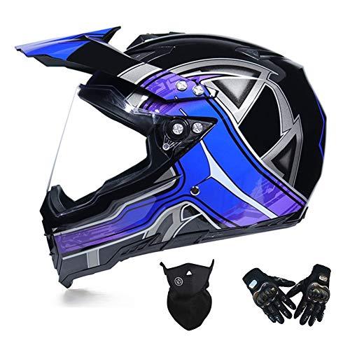 MRDEAR Casco MTB Integral Adulto, Casco Motocross con Visera, Casco Moto Cross/Máscara/Guantes, Pro Casco Downhill Enduro MX ATV Scooter, Ventilación Ajustable/Forro Extraíble,Azul,L