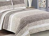 Euromat Zweiseitige Tagesdecke Bettüberwurf 3 TLG. 220x240 + 2 Kissenbezüge Tavira Beige Braun Weiß - J-035 Brian B