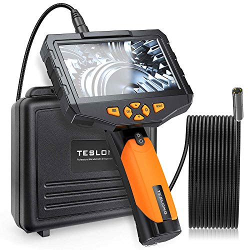 Teslong Auto-Focus Inspection Camera with 4.5 Screen, Borescope with 5 Megapixel Still Images, 10 ft Long Cable with 4 LED Ring Light, 32 GB Card, IP67 Waterproof Cable, LED Flashlight