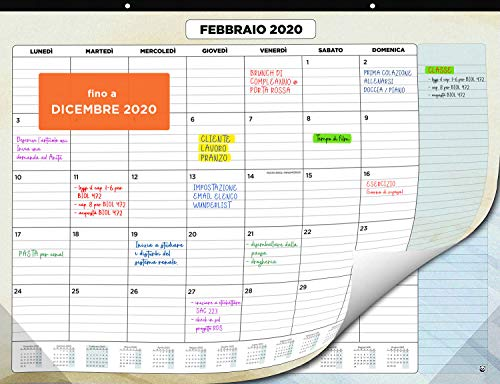 Calendario da Muro 2020 – Calendario da Scrivania Mensile, Novembre 2019 fino a Dicembre 2020 – Visualizzazione a un Mese – 33 x 43 cm