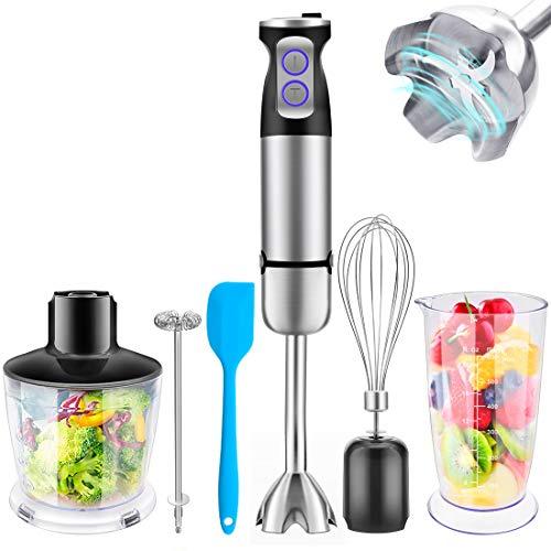 Hand Immersion Blender 600 Watt Powerful with Large 600ml Mixing Beaker, 500ml Food Grinder, Egg Whisk, Ultra Strong Stick Blender, Safe Stainless Steel 6-Blade, Multi-Speed, 5-in-1 Setting