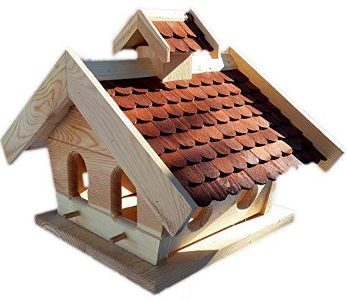 Vogelhaus-XXL mit Holzschindeln und Putzklappe lasiert Vogelhäuser-Vogelfutterhaus großes Vogelhäuschen-aus Holz Wetterschutz (Braun)