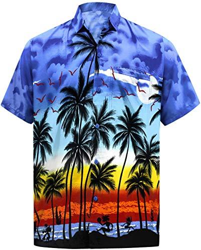 LA LEELA Men's Regular Fit Palm Tree Button Up Short Sleeve Hawaiian Shirt 5XL Blue_W140