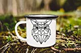 Enamel Mug 10oz Metal Camp Mug Enamel Mug With Owl Origami Owl Custom Mug Enamelware Forest Mug Camping Mug Coffee Mug Animal Print Funny Mug Mom Gift Travel Mug(Black Edge)