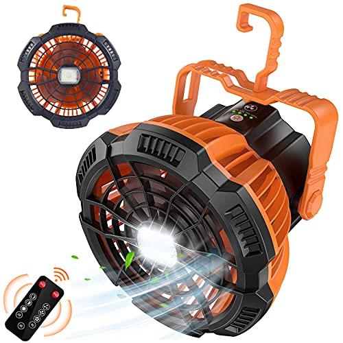ZBYL Ventilador Portatil silencioso Ventilador de Sobremesa Camping con Iluminación y Control Remot Rotación de 180° USB Recargable Mini Ventilador con Gancho para Dormitorios, Viajes Exterior